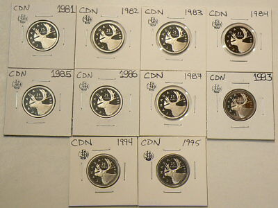 1981 To 1994 Canada 25 Cents Lot of 10 Proof  Coins  #G739
