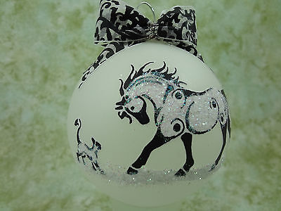 rT011 Hand-made Christmas Ornament stylized HORSE tattoo - playful cat horse