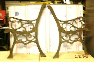 VINTAGE    WROUGHT/CAST IRON     PARK BENCH ENDS  2(pc.)