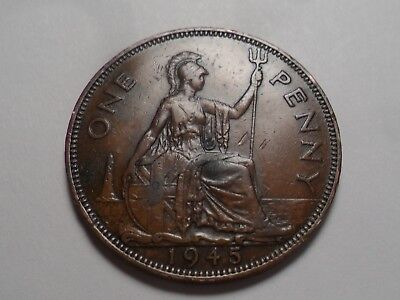 1945 Nice Great Britain Bronze One Penny Mintage 79,531,000!!!