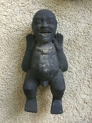 """Vintage Wood Fertility 16"""" Figure Laughing Big Belly Statue Phalus Hand Carved."""