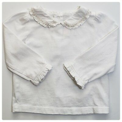Janie and Jack Ornate Opera Ivory Ruffle Collar Top Infant Girls 6-12 Months