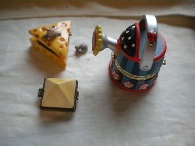 3 Collectibles Garden Sprinkler Mouse w Cheese & a Pyramid Hinged Boxes