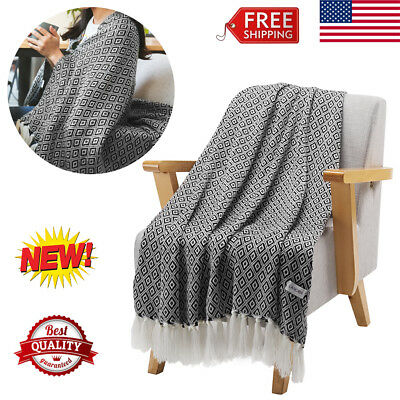 Super Soft Warm Knitted Throw Blanket Wearable Cozy Wrap Sofa Coach Bed +Tassels