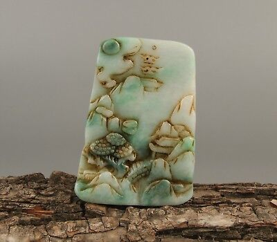 Chinese Exquisite Hand carved landscape Carving jadeite Jade Pendant