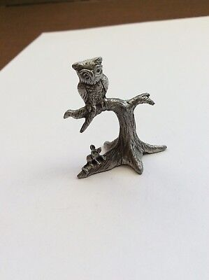 Vintage Pewter Image Owl On A Branch,Mouse Below, Very Detailed Art Work