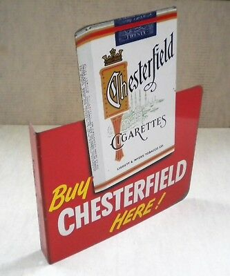 Original Vintage Chesterfield And L&m Cigarette Double Side Flange Sign Colorful