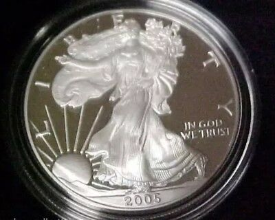 Proof 2005-W American Eagle Silver Dollar 1 oz .999 Silver With Box and COA