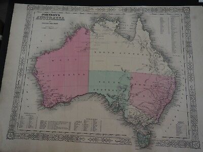 "Antique Map ""Johnson's Australia"" by Johnson and Ward"