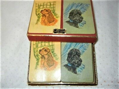 Vintage Duratone Arrco Playing Cards Dogs Poodle Spaniel