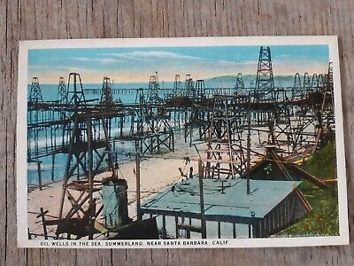 1910's Postcard Oil Wells all over the Beach Summerland CA Santa Barbara County