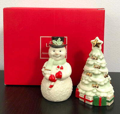 """Lenox Snowman and Christmas Tree Salt and Paper Shakers 2.75"""" Mint in Box"""