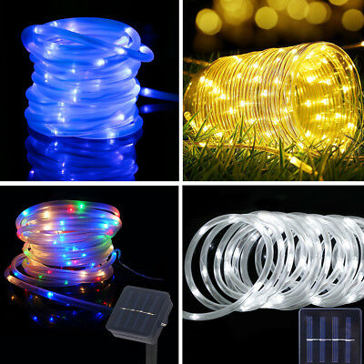 100 LED Solar Power String Fairy Light Rope Tube Lamp Garden Yard Party Lighting