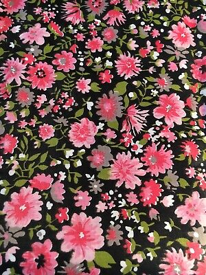 Charming Vintage Pink And Black Polished Cotton Chintz Fabric Floral Retro 3 Yds