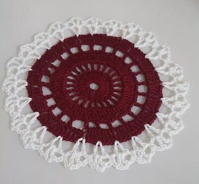 Burgundy  In White Flames Bumblebee doily Approximately 5 Inches.