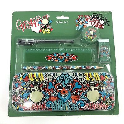 Collectible Graffiti Punk Life Writing Supplies Tin Set Stash