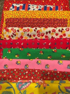 BiG LOT!!  8+ Yards VINTAGE 1960's 70's RETRO Cotton Fabrics Red Yellow Quilts