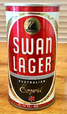 Swan Lager. 13FL.OZ. Straight Steel Beer Can.