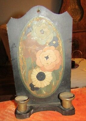 Lovely Antique Arts and Crafts Double Wall Wooden Painted Candle Holder