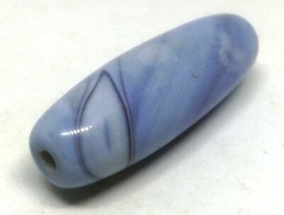 # 2 ANCIENT RARE BLUE CHALCEDONY BANDED EYE AGATE BEAD SIZE 40 x 13 MM.
