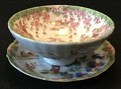 19th c. Kutani Hand Painted Japanese Eggshell Porcelain SENCHAWAN Cup w/ Saucer