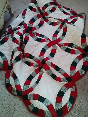 Vintage Hand Crafted Wedding Ring Patchwork Quilt Throw-50X62-Pretty