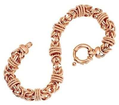 "QVC Bronzo Italia Rose Bronze Textured Byzantine 8"" Bracelet SOLD OUT $198"