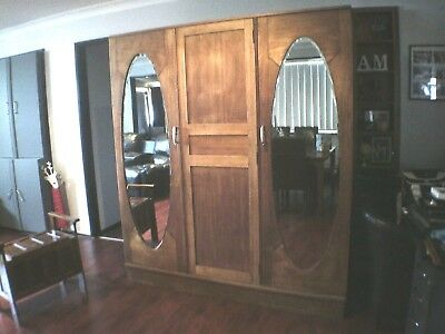 Antique 3 door wardrobe with 3 large drawers,3 sliding shelves-PENRITH AREA