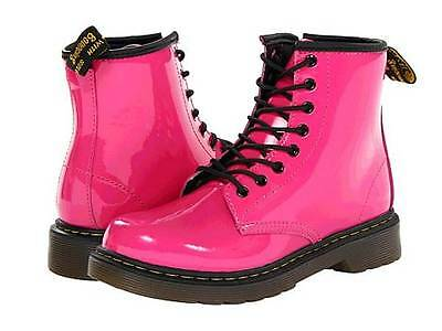 Dr. Doc Martens Girls Delaney Patent Leather Boots in Gorgeous HOT PINK Color