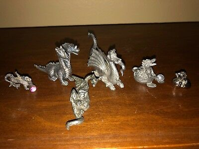 Lot of 6 Vintage Pewter Dragon Figurines in Excellent Condition