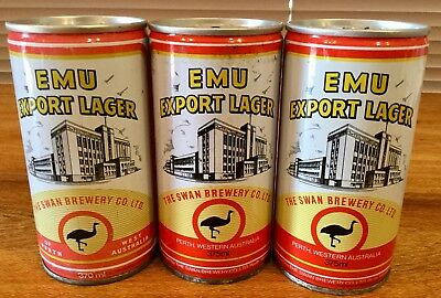 Emu Export Lager. 370ml & 375ml.Crimped Steel Beer Cans x 3 Different Variations