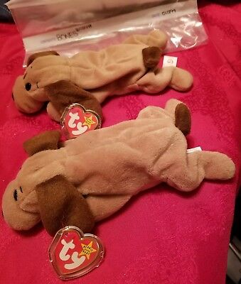 Ty Beanie Babies Bones the puppy dog #4001 with tags 1993 lot of 2 DOB 1-18-94