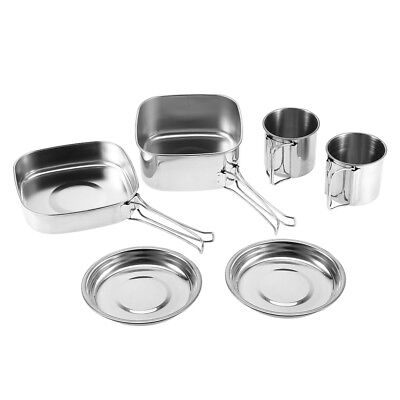 6pcs Stainless Steel Camping Cookware Outdoor Picnic Pot Cook Pan Set Hiking BBQ