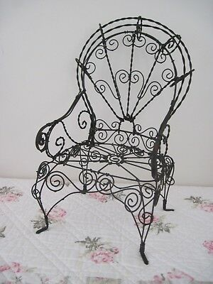Vintage Black Victorian Style Metal Ornate Doll Chair Antique Doll display
