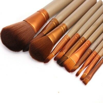 12PCS Pro Makeup Brushes Set Powder Eyeshadow Eyeliner Lip Foundation Brush Tool