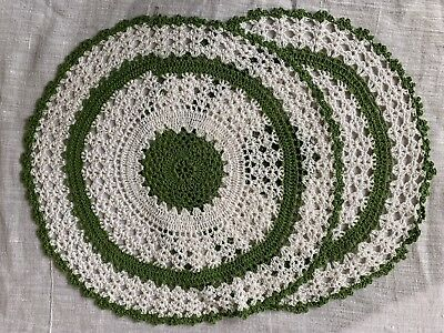 "2 Pcs/Lot White Vintage Hand Crochet Lace Doilies Round Cotton Placemats 13""-14"""