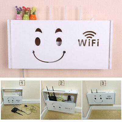 White Wifi Router Storage Box Plastic Shelf Wall Mounted Bracket Cable Organizer