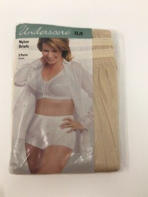 New UNDERSCORE VTG JC PENNY 3 Pairs Nude Beige Nylon Brief Granny Panties 8 XL