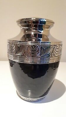 Cremation Urn -Black And Nickel_ Brass Adult