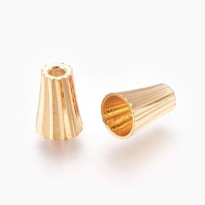 20pcs Brass Bead Cones Metal Gold Plated Cone Beads Cap Jewelry Finding 7mm