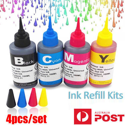 AU 4x 100ml Color Ink Cartridge Refill Replacement Kit for HP Canon Printer  UEE