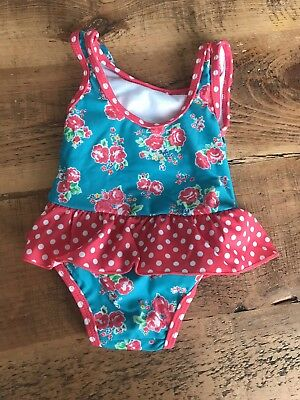 Mini Club Boots Baby Girls Swimsuit Swimming Costume 0-3 Months Floral Blue Pink