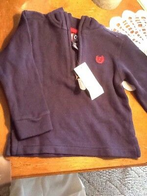 Chaps Navy Boys18 Month Pulllover Long Sleeve 1/4 Zip Top 100% Cotton NWT $30.00