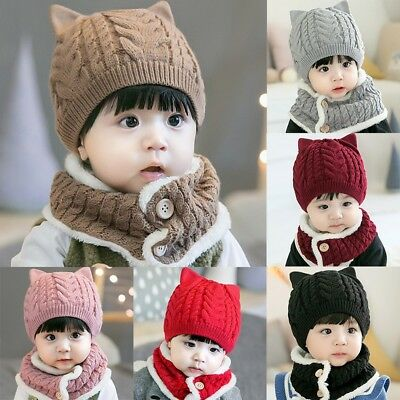 Winter Warm Baby Girls Boys Kids Cute Knit Caps Scarves Solid Hat And Scarf Sets
