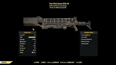 Fallout 76 (PC) Legendary Weapons Two Shot + Explosive x12 Handmade and more