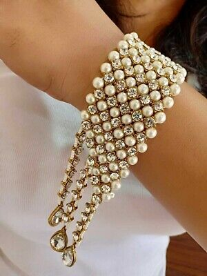 Handmade Indian Bollywood Pearl Round Beads Bracelet Fashion Partywear Jewelry