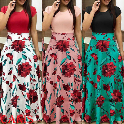 Women Floral Maxi Dress Prom Evening Party Summer Boho Beach Casual Long Sundres