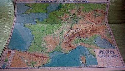 Philips Wall Map Europe France & The Alps Comparative 1945