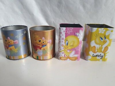 4 Portapenne In Latta Personaggi Disney Winnie The Pooh E Titty Tweety Cm. 10X7