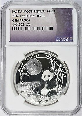 2016 CHINA SILVER PANDA MOON FESTIVAL MEDAL GEM PROOF 1oz